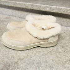 Womens LL Bean Suede Double Sole Slippers Shearling Lined Size 9 M Driving Shoes