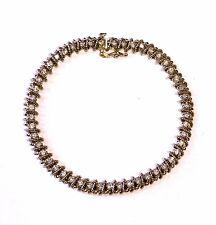 "14k yellow gold 1.47ct diamond S tennis bracelet 12.1g vintage estate antique 7"""