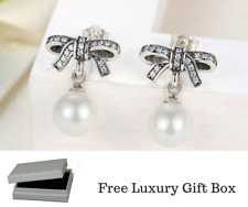 Solid 925 Silver Sterling Delicate Sentiments Bow knot Pearl earrings + gift box