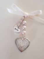 "Wedding Bouquet Charm Embossed Silver Heart Locket,  ""Mum"" charm and gift bag"