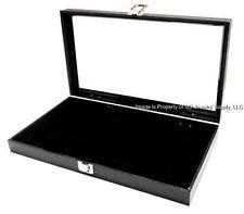 1 Key Lock Black Pad Display Box Case Militaria Medals Pins Jewelry Awards Knife