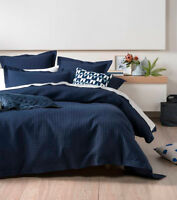 Linen House Deluxe Waffle Indigo Queen Quilt Cover Set Cotton New
