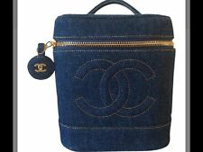 RARE VINTAGE CHANEL DENIM TRAIN CASE VANITY