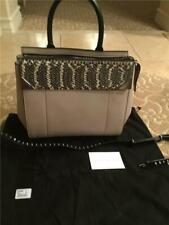 "Barbara Bui ""Back To Black"" Gray Bag, Snakeskin Trim & Detachable Studded Strap"
