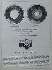 PUBLICITE NIKON NIKKORMAT APPAREIL PHOTO VISEE LUMINEUSE DE 1966 FRENCH AD PUB