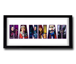 DESCENDANTS Personalised Name Print Art - Disney High Quality Frame Included