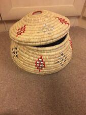 Natural Woven Coil Woven hand made Basket Lidded Pot Homeware Storage wicker Nee