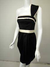 BCBG MAX AZRIA Black White Satin One Shoulder Belted Dress sz 8