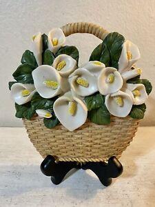 "Vintage Calla Lily Flowers Basket Plaque Wall Art Hanging Decor 7"" x 7"" EUC"