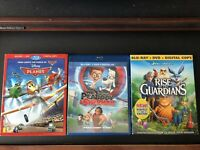 Planes, Mr. Peabody & Sherman, Rise Of The Guardians Bluray Movies w/ Slipcovers
