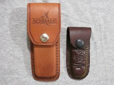 Schrade and other folding knife leather sheaths lot of 2 lot Z
