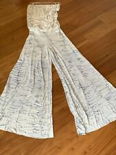 New YOUNG FABULOUS BROKE Size L Strapless Wide Flare Leg Jumpsuit White Printed