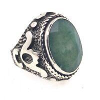 Herrrenring aus 925er Silber mit Indischen Smaragd Gr 60 EU