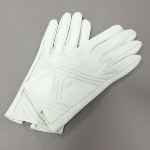 Auth HERMES White Leather Womens Gloves #6 1/2