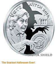 Donald Trump,  Hillary Clinton Republican 1 oz .999 silver shield Vote Witch RNC