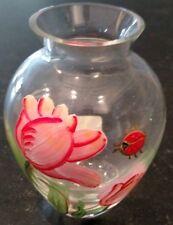 LENOX Glass BUD VASE w/Hand-Painted TULIPS & LADYBUG
