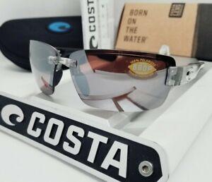 """COSTA DEL MAR silver/silver mirror """"GALVESTON"""" POLARIZED 580P sunglasses NEW!"""