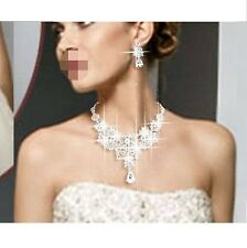 Bridal Bridesmaid Party Prom Jewelry Set Crystal Rhinestone Necklace Earring Fx4
