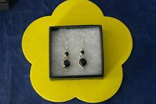 Beautiful Silver Earrings With Onyx  6.8 Gr. 3 Cm. Long + Hooks In Gift Box