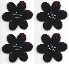 "1 1/8"" x 1 1/4"" Dark Maroon Die Cut Flower w/ Beads Patch Lot of 4"