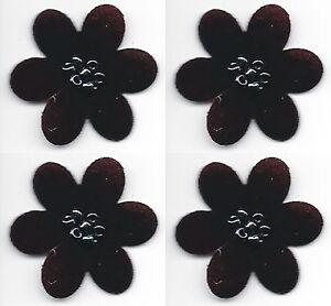 """1 1/8 """" x 1 1/4 """" Foncé Bordeaux Die Coupe Fleur Avec / Perles Patch Lot De 4"""