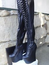 Giaro Ultra Fetish Extreme Platform Thigh Boots  Black Leather EU size 41