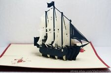 3D Blue Pirate Ship Pop up Card, Kirigami Popup Card, Collectible Pop up Cards!