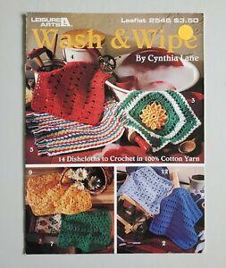 Crochet Wash & Wipes Dishcloths 14 Designs 2546 Leisure Arts Leaflet 1994