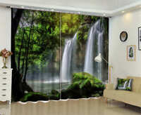 Sunshin Tree Waterfall 3D Curtain Blockout Photo Printing Curtains Drape Fabric