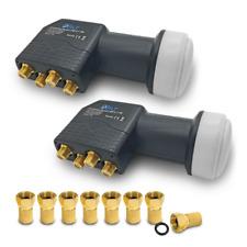 Quad LNB 0.1 dB 2x HD Universal lmb mit F Stecker vergoldet Sat 3D Digital 4K