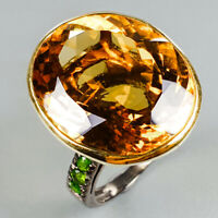 Handmade30ct+ Natural Cognac Quartz 925 Sterling Silver Ring Size 7.5/R125827