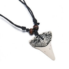 Mens Shark Tooth Teeth Pendant Necklace Charm Wax Cord Rope String Chain Gift