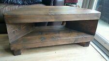 Corner Rustic Pine TV Unit solid chunky wood stand/cabinet - dark oak wax finish