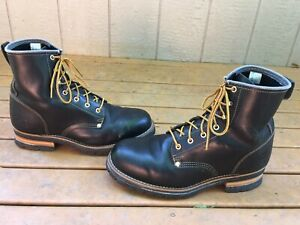 SKECHERS CASCADES BLACK SMOOTH OILED LEATHER HIKING WORK LOGGER BOOTS SIZE 14