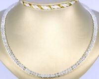 Bergkristall Kette Edelsteinkette Facettierte Rondell Schmuck Collier Halskette