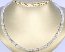 Natur Bergkristall Kette Edelsteinkette Facettiert Rondell Geschenk Collier 45cm