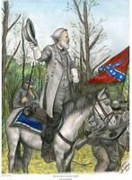11x14 S/N Civil War Art Print, Gen. Robert E. Lee at Wilderness Battle