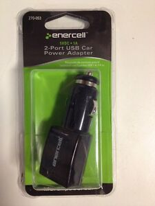 Enercell 5VDC 1A 2 Port USB Car Power Adapter 270-053