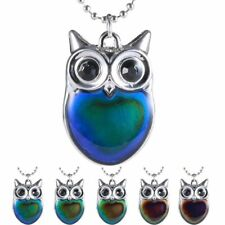 Color Change Thermo Mood Owl Pendant Necklace  comes with gift box