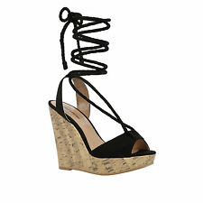Call It Spring Treawen Ghillie Lace Up Wedge Sandals Black Women's 7.5 NIB $60