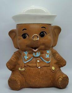 Vintage 1960s Twin Winton Baby Elephant Sailor Boy White Hat Cookie Jar