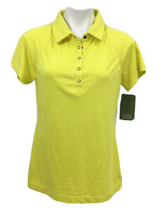 Cabela's Womens Triune Polo Shirt Size M Neon Yellow Snap Front MSRP $29.99