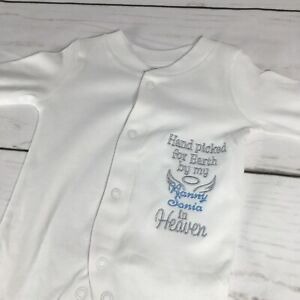 personalised baby grow hand picked for earth embroidery
