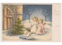 1956 Ángeles Niños Oración Tarjeta Postal Antigua Buon Navidad Pedestal Vintage
