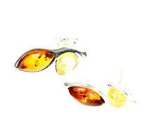 SilverAmber Jewellery Orecchini GL068 925 Sterling Silver Cognac Ambra Pietre