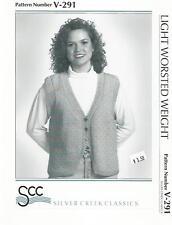 Cardigan Vest with Side Slits Knitting Pattern V-291 Silver Creek Womens XS-XL