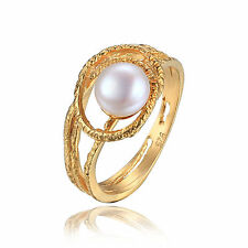 8mm 18ct Gold Plated Solid Sterling Silver & Freshwater Pearl Ring Size 8