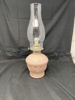 Vintage Pink Glass OIL LAMP Cased Roses KAADAN LTD 1988 New Complete Wick