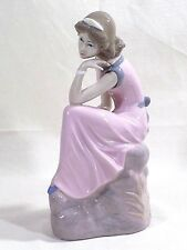 "Casades Porcelain Girl Figurine  Brown Hair Pink Dress 10"" Home Decor Pretty"