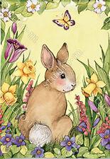Garden Flag, Easter Springtime Bunny, Butterfly, Flowers, Floral